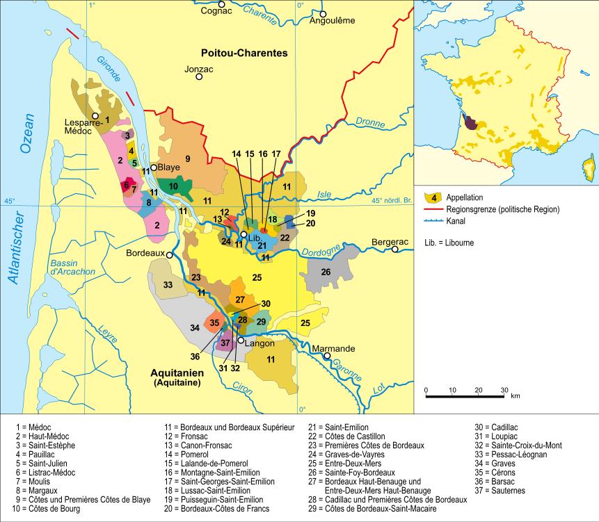 mapa regiónu Bordeaux