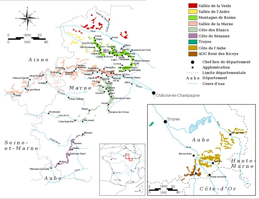 šampanské mapa