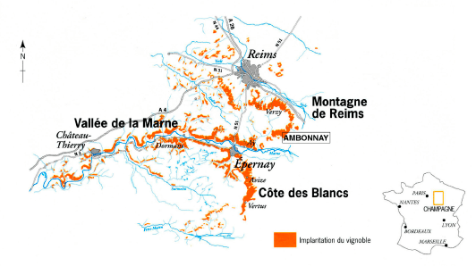 Champagne Soutiran mapa regiónu